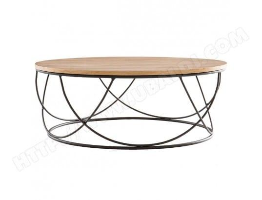 Table Basse Bois Et Metal Noir Ronde 80cm Lace Miliboo Ma