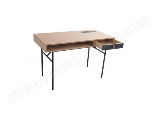 Bureau design avec rangements bois chêne et noir ofici miliboo ma