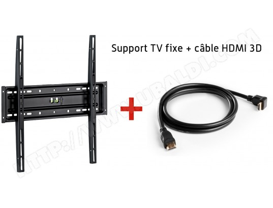 Support mural MELICONI Kit N°1 Support Mural+ Câble Hdmi - 920003