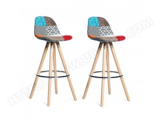 lot 2 tabourets de bar patchwork tissu design diana meubletmoi 2210 pas cher. Black Bedroom Furniture Sets. Home Design Ideas