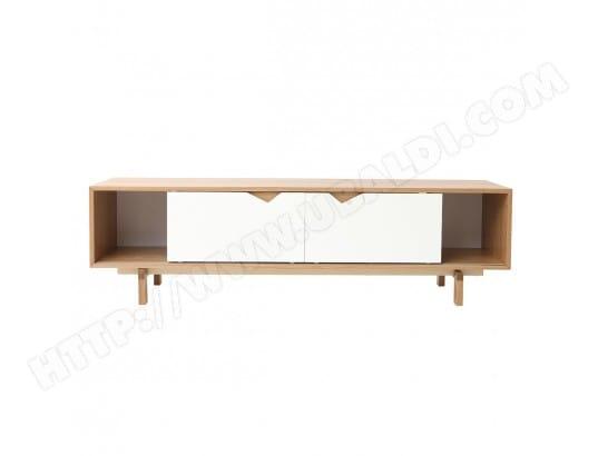 meuble TV scandinave modulable blanc et chêne ACOUSTIC ...