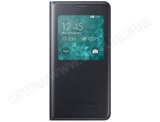 SAMSUNG - Coque smartphone S View Cover EF-CG850B noir pour Galaxy Alpha