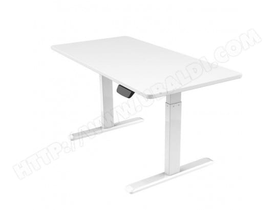 bureau motoris assis debout 120x75cm hauteur 62 128cm plateau blanc pied blanc kimex 150. Black Bedroom Furniture Sets. Home Design Ideas