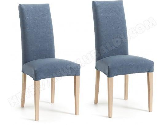 Chaise Lf Lot De 2 Chaises Freia Tissu Bleu Pas Cher