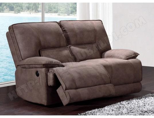 Canapé Tissu Ub Design Eros 2 Places 2 Relax électriques Marron Pas