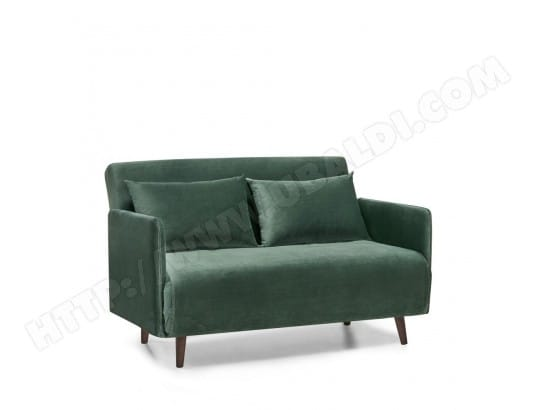 Canapé convertible 2 places velours Belushi - Couleur - Vert kaki DRAWER MA-72CA94_CANA-BLZKN