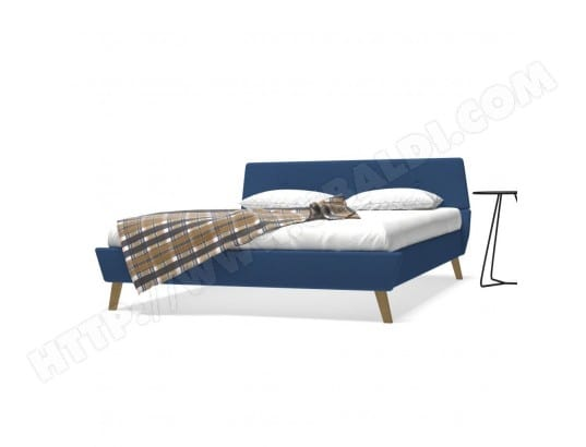 lit avec matelas mousse m moire de forme 160x200cm tissu bleu bazeec ma 69ca186lita lhfdy pas. Black Bedroom Furniture Sets. Home Design Ideas