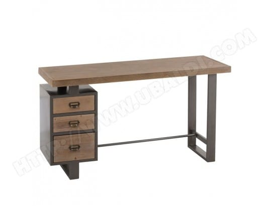 Bureau 3 tiroirs bois métal gris maylon l 140 x l 50 x h 75
