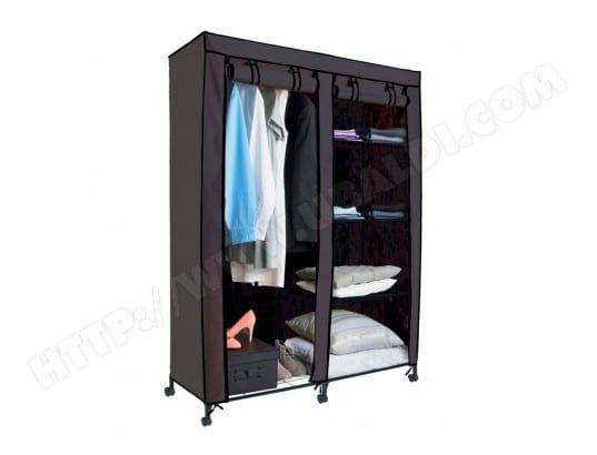 armoire de rangement 4 tag res et 1 penderie gris en. Black Bedroom Furniture Sets. Home Design Ideas