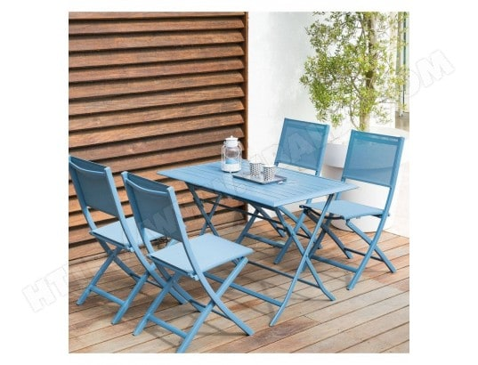 Table aluminium azua 4 places bleu orage hesp ride - Table de jardin hesperide azua ...
