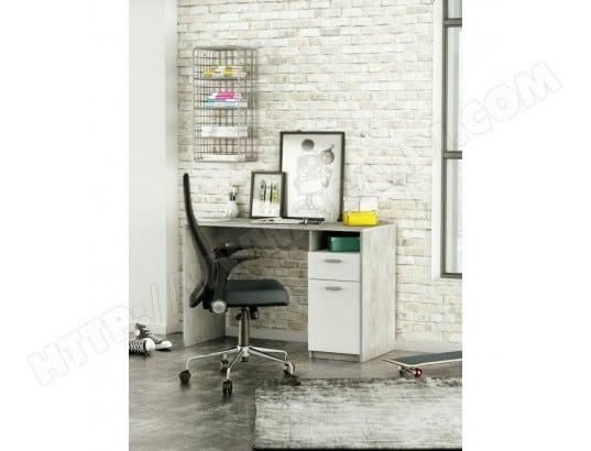 Bureau detroit blanc béton porte niche tiroir demeyere