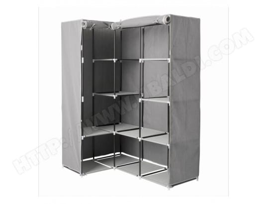 Armoire d 39 angle 1 penderie 10 tag res gris atmosph ra - Penderie d angle pas cher ...