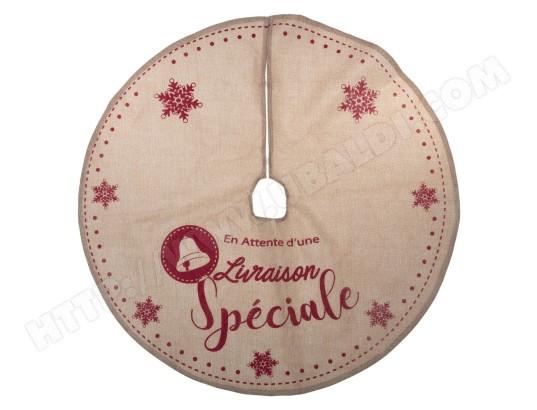 Tapis pour sapin de Noël - Diam. 90 cm - Marron et rouge FEERIC ...