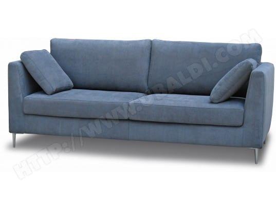 Canapé tissu CITY Oslo 3 places fixe gris/bleu Pas Cher | UBALDI.com