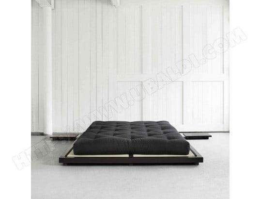 Ensemble Lit Futon Style Japonais Matelas Futon Noir 160x200 Terre