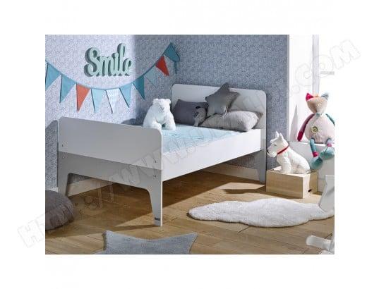 lit enfant volutif city blanc gris 90x140 200 junior provence ma 72ca187lite qkd2x pas cher. Black Bedroom Furniture Sets. Home Design Ideas
