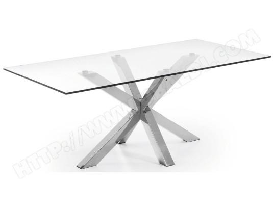 Table De Salle A Manger Lf Arya 200x100 Plateau Verre Pied Inox