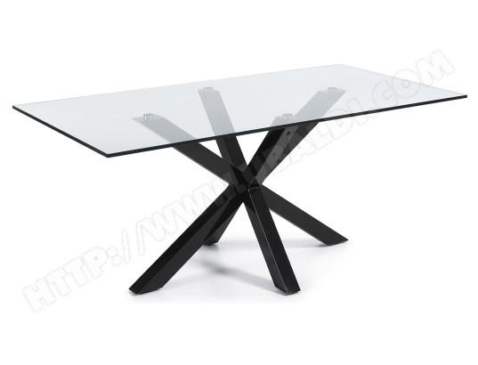 Table De Salle A Manger Lf Arya 200 X 100 Plateau Verre Pied