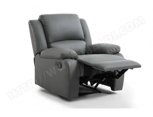 Fauteuil Relaxation 1 place Simili cuir DETENTE - Couleur - Gris USINESTREET  MA-80CA93 FAUT- 6e6d8b202cae
