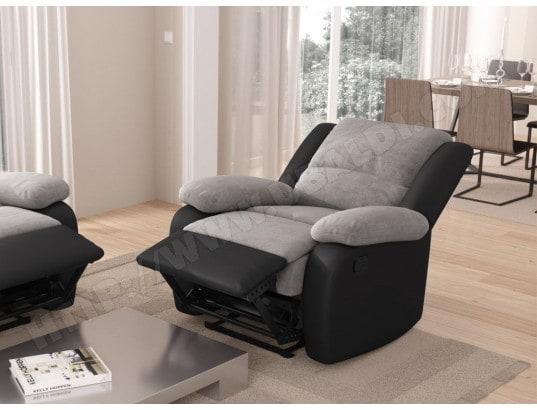 Fauteuil Relaxation 1 place Microfibre   Simili DETENTE - Couleur - Gris    Noir USINESTREET MA-80CA93 FAUT-OBV3T Pas Cher   UBALDI.com 1efee722770d