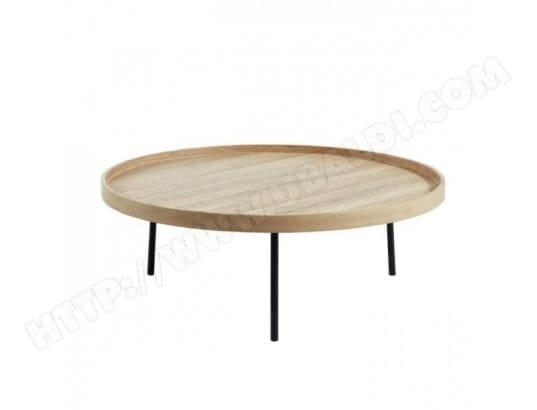 Moon Table Basse Ronde Style Industriel Decor Chene Et Pieds
