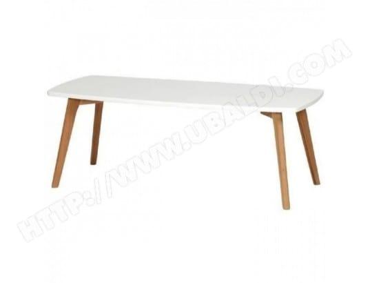 NORDIK Table basse scandinave blanc laque avec cadre metal blanc et ...
