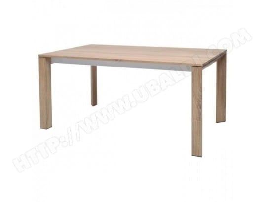 0026e5e37dff79 AUCUNE - VISIT Table a manger extensible 6 a 10 personnes - Contemporain -  Placage chene sonoma + ceinture metal blanc - L 160 220 x l 90  MA-31CA492VISI- ...