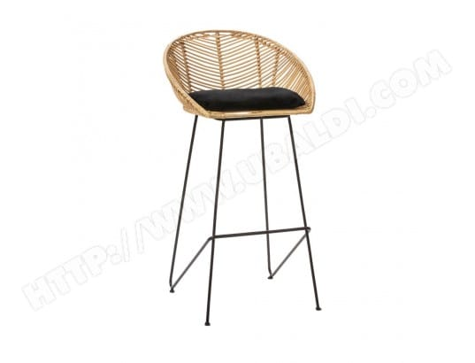 Naulu Tabouret de bar en rotin 76cm Couleur Naturel
