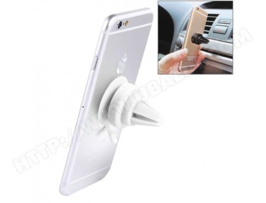 Support Holder blanc pour Tablettes, iPhone, Samsung, , Xiaomi, HTC et autres smartphone Universel 360 Degrees Rotation De Voiture Air Vent Mount Sucker Titulaire Stand, Diamètre: 3,5 cm, Hauteur du support: 4,5 cm, WEWOO MA-80CA504SUPP-COSR9
