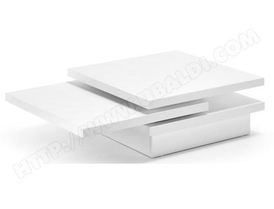 Table Basse Lf Yuki 3 Plateaux Laqué Blanc Mat 106 X 70 Cm Pas Cher