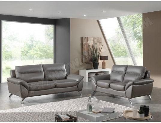 canap cuir ub design amarok 3 places fixe cuir gris fonc - Canape Gris Design