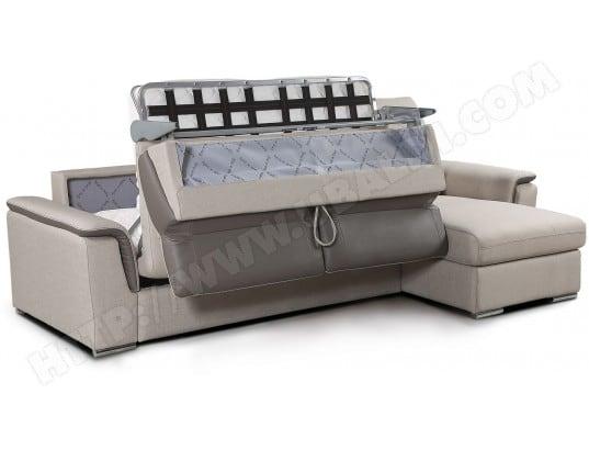 Canapé lit DIVANI FORM Mays angle convertible matelas 18cm beige Pas ...