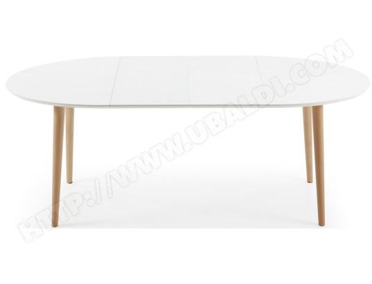 Table de salle à manger LF Oakland ovale 120/200x90cm blanc/bois Pas ...