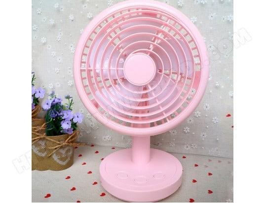 ventilateur lectrique rose de bureau rechargeable piles usb 2 vitesses wewoo ma 80ca173vent. Black Bedroom Furniture Sets. Home Design Ideas