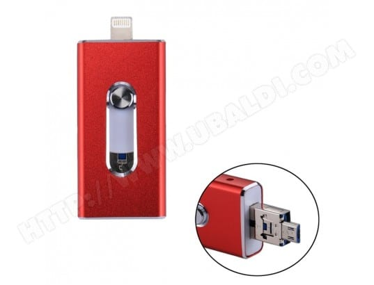 Clé USB rouge pour iPhone et iPad & iPod la plupart des smartphones Android PC 3 en 1 USB 2.0 Lightning 8 broches Micro USB 128 Go Flash Drive, WEWOO MA-80CA505CLEU-9IJ5G