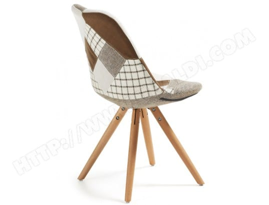 Chaise LF Lot De 4 Chaises Lars Patchwork Marron