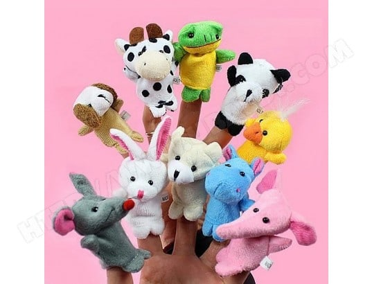 10 PCS Story Raconter des Marionnettes Enfants Mignon Zoo Farm Animal Cartoon Finger En Peluche Jouet Poupées À La Main, Livraison Couleur Aléatoire WEWOO MA-80CA30610PC-QY0SS
