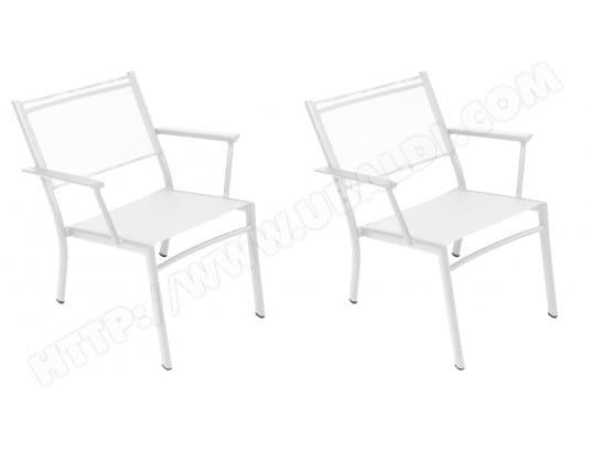 Chaise FERMOB 2 fauteuils bridge Costa blanc coton Pas Cher ...