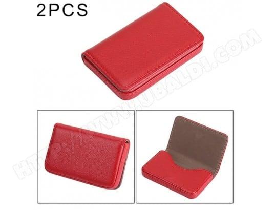 Points Forts Porte Cartes Rouge 2 Cas De Carte Visite Daffaires En Cuir PU Dunit Suprieure PCS Avec La Fermeture Magntique Taille 10 65