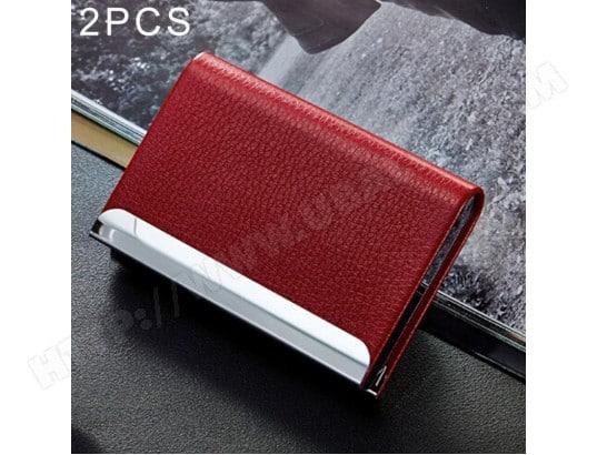 Porte Cartes Rouge 2 PCS Lichi Texture De Visite Carte Crdit ID Case Holder
