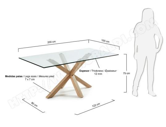 Table De Salle A Manger Lf Arya 200 X 100 Plateau Verre Pied Bois