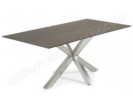 Table de salle manger lf arya 200x100 plateau c ramique - Table salle a manger plateau ceramique ...