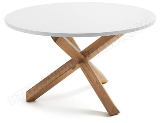 Table De Salle A Manger Lf Nori Diametre 120 Cm Plateau Blanc Pied