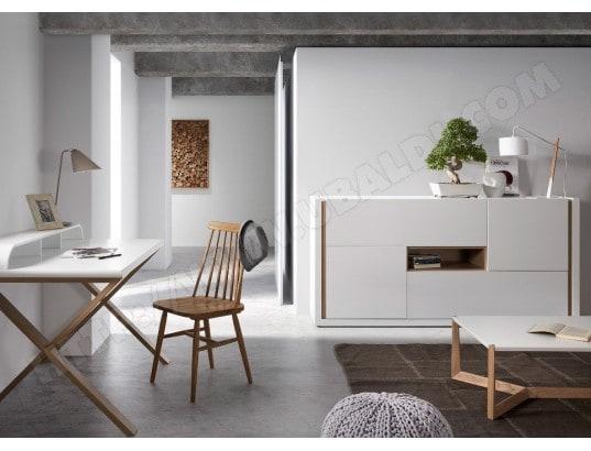 Bureau double tiroirs barton bois noyer et blanc u bebelelo
