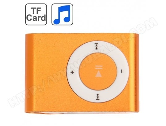 Lecteur MP3 orange carte TF Micro SD MP3 avec clip en métal WEWOO MA-80CA14_LECT-4CZJC