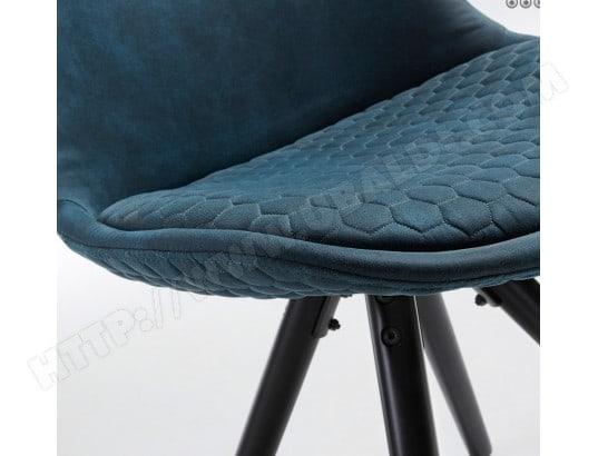 Chaise Lf Lot De 4 Chaises Lars Tissu Bleu Pied Noir Pas Cher