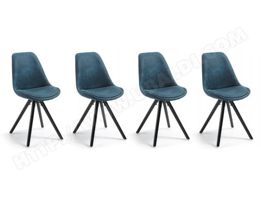 Chaise LF Lot De 4 Chaises Lars Tissu Bleu Pied Noir