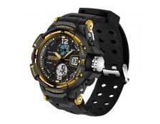 ... Montre Silicone or Rétroéclairage LED   Chronomètre   Alarme   Date et  Semaine Fonction Hommes Quartz + Numérique Dual Movement avec Bande de  Silicium a2289c603e7