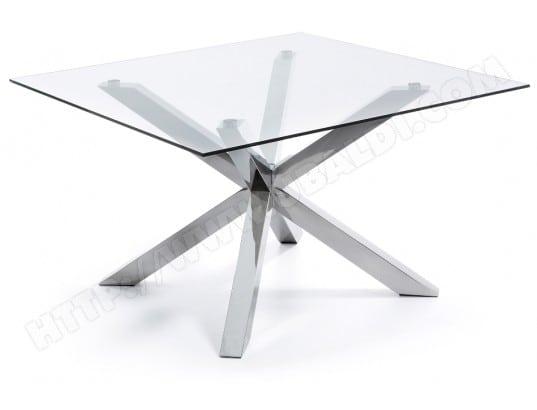 Table De Salle A Manger Lf Table Arya 149 X 149 Plateau Verre Pied