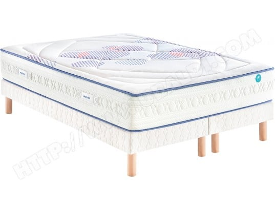 Ensemble Matelas Sommier 2 x 80 x 200 MERINOS Lit CheerFully 160x200+sommier 2x80+pieds vernis